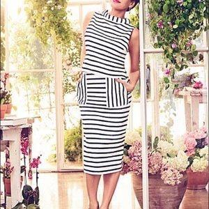 Eva Mendez striped pocket midi skirt 12